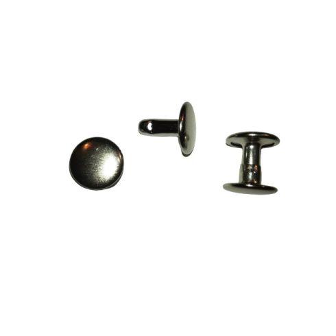 Csőszegecs, bőrszegecs 9 mm, dupla fejű. (Színén és a fonákján is egyforma)  24 Ft/db (100 pár/cs)