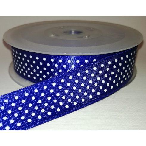 Textilszalag 20 mm kék alapon fehér pöttyös 115 Ft/m (20m)