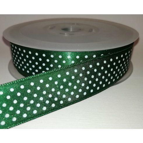 Textilszalag 20 mm zöld alapon fehér pöttyös 115 Ft/m (20m)